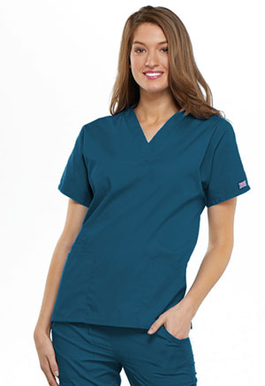 Cherokee Workwear V-Neck Top Caribbean Blue (4700-CARW)