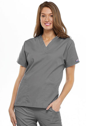Cherokee Workwear WW Originals Women's V-Neck Top Gray