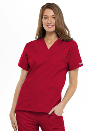 Cherokee Workwear V-Neck Top Red (4700-REDW)