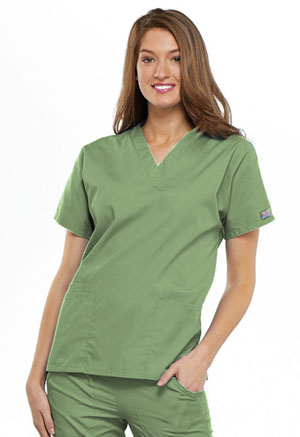 Cherokee Workwear V-Neck Top Sage Green (4700-SAGW)