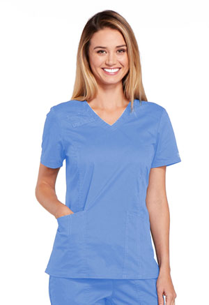 Cherokee Workwear V-Neck Top Ciel (4710-CIEW)