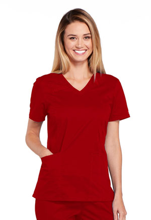 Cherokee Workwear V-Neck Top Red (4710-REDW)