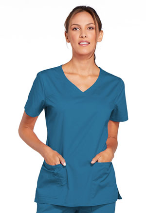 Cherokee Workwear V-Neck Top Caribbean Blue (4727-CARW)