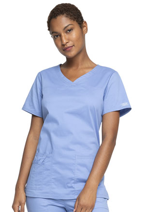 Cherokee Workwear V-Neck Top Ciel (4727-CIEW)