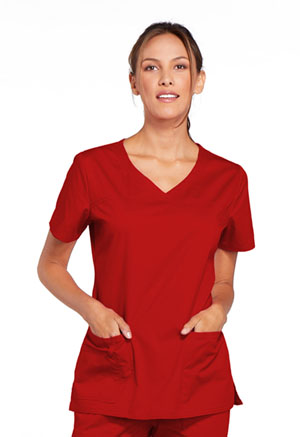 Cherokee Workwear V-Neck Top Red (4727-REDW)