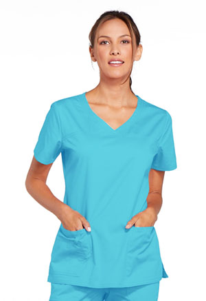 Cherokee Workwear V-Neck Top Turquoise (4727-TRQW)
