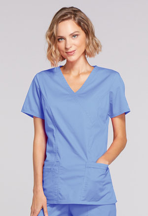 Cherokee Workwear Mock Wrap Top Ciel (4728-CIEW)