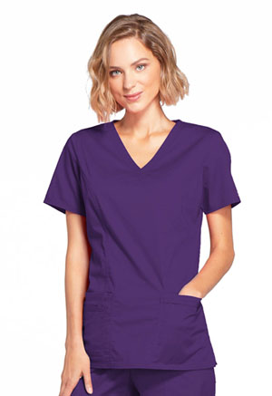 Cherokee Workwear Mock Wrap Top Eggplant (4728-EGGW)