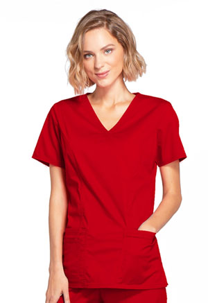 Cherokee Workwear Mock Wrap Top Red (4728-REDW)