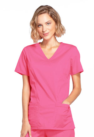 Cherokee Workwear Mock Wrap Top Shocking Pink (4728-SHPW)