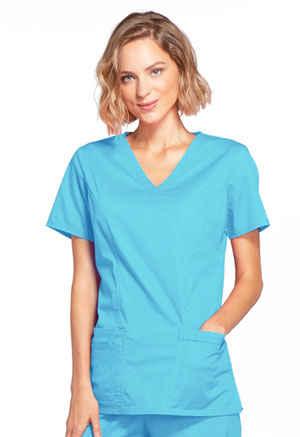 Cherokee Workwear Mock Wrap Top Turquoise (4728-TRQW)