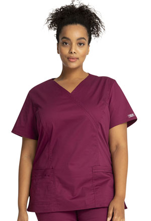 Cherokee Workwear Mock Wrap Top Wine (4728-WINW)