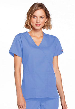 Cherokee Workwear Mock Wrap Top Ciel (4741-CIEW)