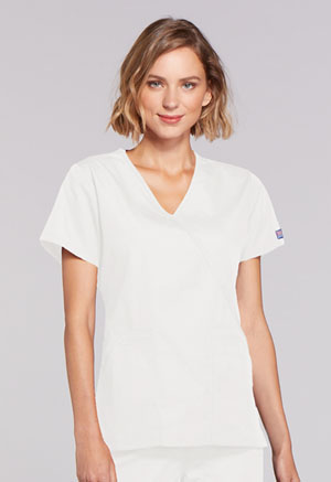 Cherokee Workwear Mock Wrap Top White (4741-WHTW)