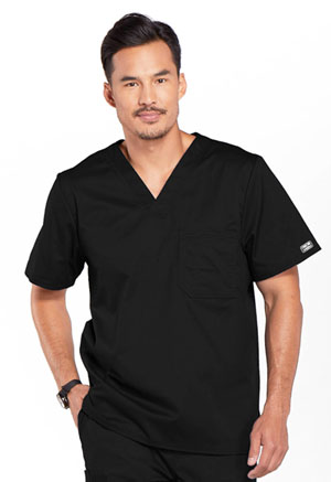 Cherokee Workwear Men's V-Neck Top Black (4743-BLKW)