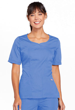 Cherokee Workwear V-Neck Top Ciel (4746-CIEW)