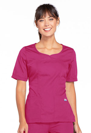 Cherokee Workwear V-Neck Top Raspberry (4746-RASW)