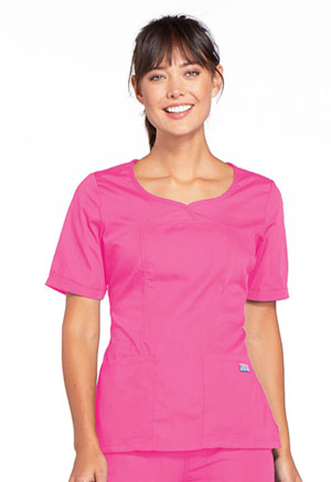 Cherokee Workwear V-Neck Top Shocking Pink (4746-SHPW)