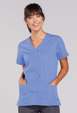 Cherokee Workwear Snap Front V-Neck Top Ciel (4770-CIEW)