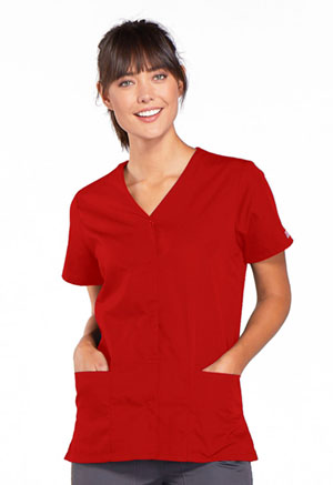 Cherokee Workwear Snap Front V-Neck Top Red (4770-REDW)