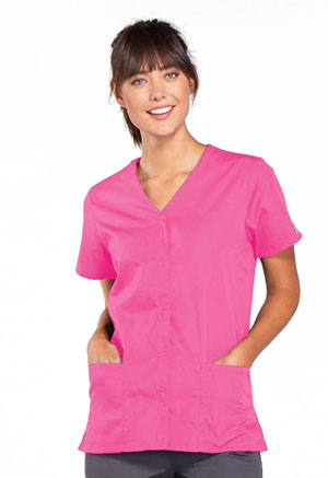 Cherokee Workwear Snap Front V-Neck Top Shocking Pink (4770-SHPW)