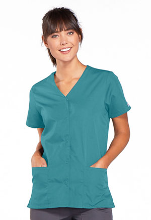 Cherokee Workwear Snap Front V-Neck Top Teal Blue (4770-TLBW)