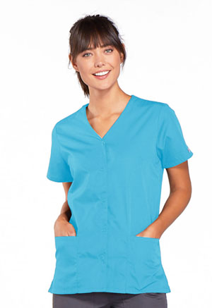 Cherokee Workwear Snap Front V-Neck Top Turquoise (4770-TRQW)