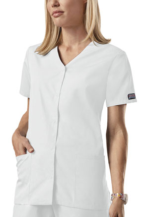 Cherokee Workwear Snap Front V-Neck Top White (4770-WHTW)