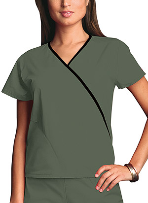 Cherokee Workwear Mini Mock Wrap Top Olive (4800-OLVW)
