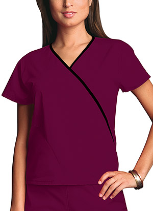 Cherokee Workwear Mini Mock Wrap Top Wine (4800-WINW)