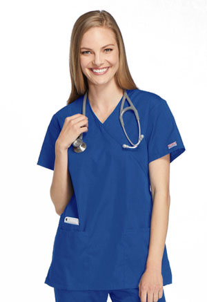 Cherokee Workwear Mock Wrap Tunic Royal (4801-ROYW)