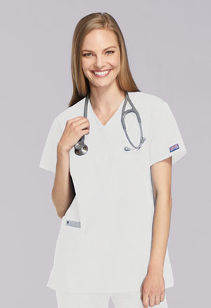 Cherokee Workwear Mock Wrap Tunic White (4801-WHTW)