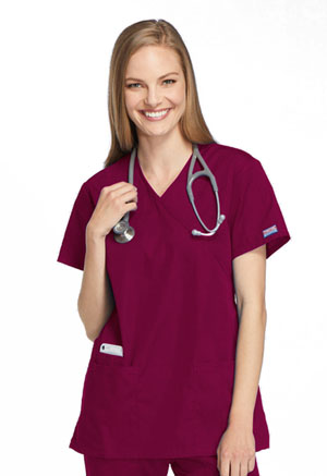 Cherokee Workwear Mock Wrap Tunic Wine (4801-WINW)