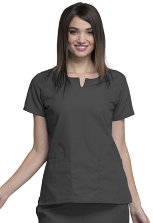 Cherokee Workwear Round Neck Top Pewter (4824-PWTW)