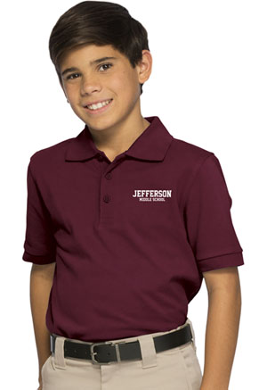 Classroom Uniforms Youth Unisex Short Sleeve Pique Polo Burgundy (58322-BUR)