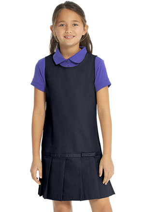 Real School Uniforms Drop Waist Jumper w/Ribbon Bow Navy (64232-RNVY)