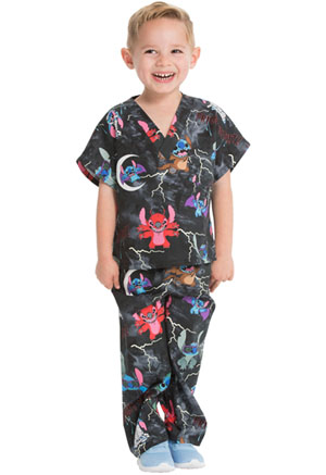 Tooniforms Kids Top and Pant Scrub Set Spooky Stitch (6620C-LHOOD)