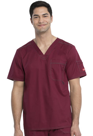 Dickies Gen Flex Men's V-Neck Top in D-Wine (81722-WINZ)
