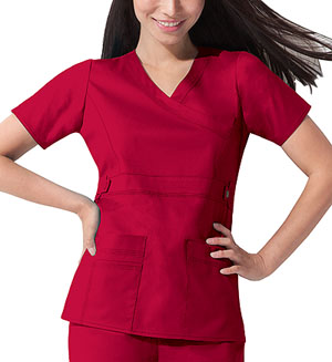Dickies Gen Flex Mock Wrap Top in Crimson (817355-CRMZ)