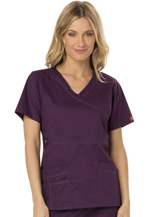 Dickies Gen Flex Mock Wrap Top in Eggplant (817355-EGPZ)