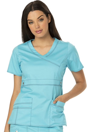 Dickies Gen Flex Mock Wrap Top in Icy Turquoise (817355-ITQZ)