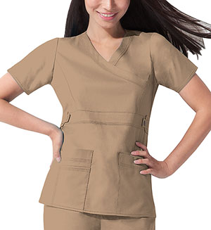 Dickies Gen Flex Mock Wrap Top in Dark Khaki (817355-KHIZ)