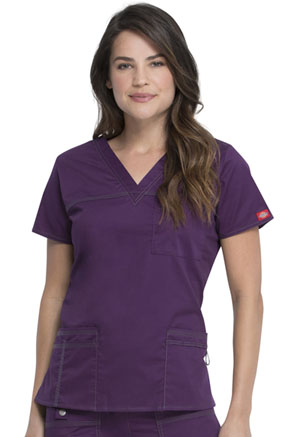 Dickies Gen Flex V-Neck Top in Eggplant (817455-EGPZ)