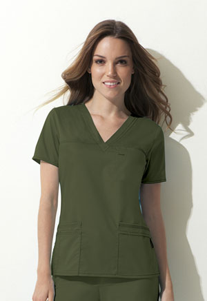 Dickies Gen Flex V-Neck Top in Olive (817455-OLIZ)