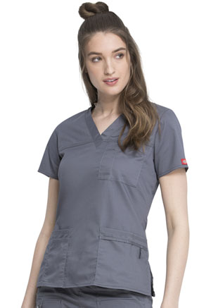 Dickies Gen Flex V-Neck Top in Light Pewter (817455-PEWZ)