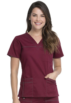 Dickies Gen Flex V-Neck Top in D-Wine (817455-WINZ)