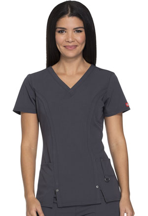 Dickies Xtreme Stretch V-Neck Top in Light Pewter (82851-PEWZ)