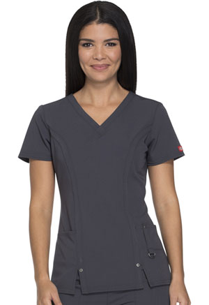 Dickies Xtreme Stretch V-Neck Top in Pewter (82851-PWT)