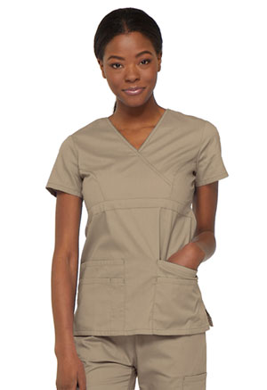 Dickies EDS Signature Mock Wrap Top in Dark Khaki (85820-KHIZ)