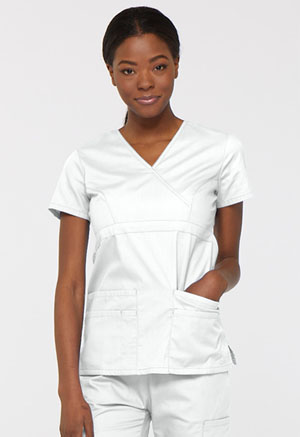 Dickies EDS Signature Mock Wrap Top in White (85820-WHWZ)